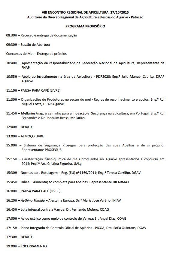 Programa Encontro Regional de Apicultura 2015