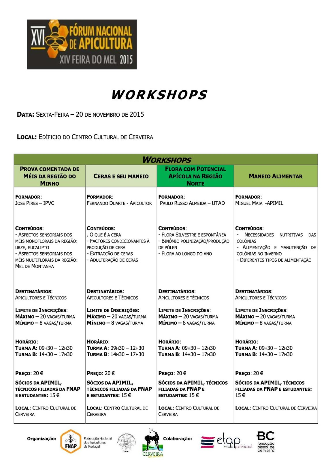 Workshops Forum Nacional de Apicultura 2015